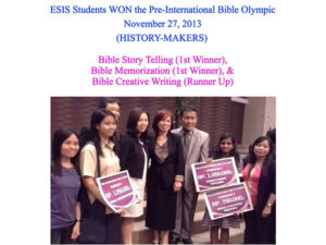 1ST PLACE WINNER (TELLING) (BIBLE MEMORIZATION) RUNNER UP(BIBLE CREATIVE WRITING)